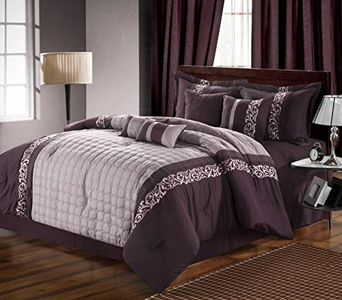 12Pc Glendale Purple/Lavender Luxury Bedding Set - Silver-Grey - King front-915276