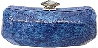 Nicole Miller Women's Charla Leather Casual Handbag,Handstain Blue Leather