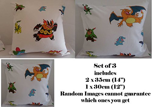 Pokemon-Monsters-aleatoria-imgenes-Juego-de-3-cojines-con-relleno-35-cm-y-tamaos-de-30-cm