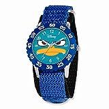Disney Phineas & Ferb Kids Perry Blue Velcro Band Time Teacher Watch