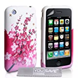 Stylish White / Pink Bee Floral Pattern Silicone Gel Case Cover For The Apple iPhone 3 / 3G / 3GS With Screen Protector Film And Grey Micro-Fibre Polishing Clothby Yousave Accessories