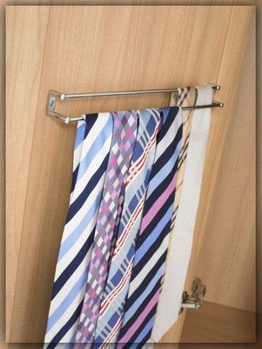 Fitmykitchen - Doppia barra porta cravatte, colore: Cromo