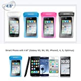 Cell Phone Waterproof Case 4.8 inch Smart Phone Arm Band Neck Strap Small Digital Camera Case For Outdoor Swimming Beach Hiking Camping Skiing (Pink)