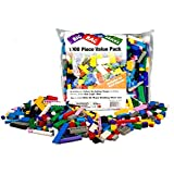 "Building Bricks - 1000 pc ""Big Bag of Bricks"" Bulk Blocks with 54 Roof Pieces - Tight Fit and Compatible with Lego"