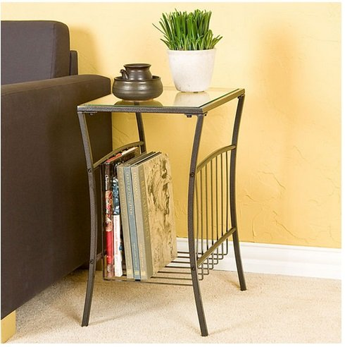 Steel And Glass Magazine Accent Table - Sleek Contemporary Design - Use Indoors Or Outdoors front-730530