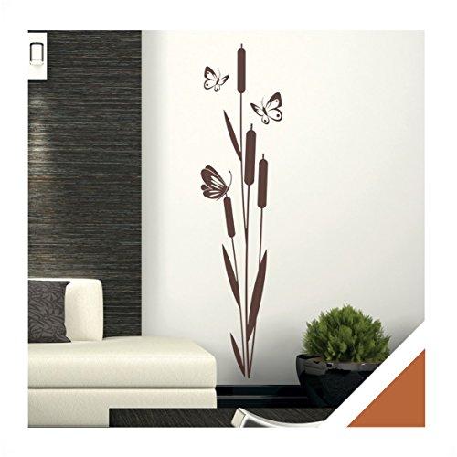 Wandtattoo schilf pflanze mit schmetterlinge inkl rakel - Wandgestaltung diele ...