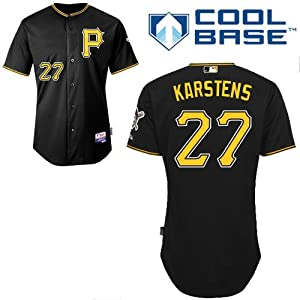Jeff Karstens Pittsburgh Pirates Alternate Black Authentic Cool Base Jersey by... by Majestic