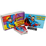 DC Comics Superman Playing Card and Dice Set in a Flat Brushed Tin