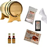 Outlaw Kit From American Oak Barrel - Make Your Own Honey Bourbon (Natural Oak With Black Hoops, 1 Liter)