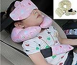 HanSi ふかふか 子供ネックピロー 車のシート ボディクッション枕  クッション+ 枕 +頭固定バンド 簡単取付 ドライブのお子供に 誕生日へのギフト イエロー