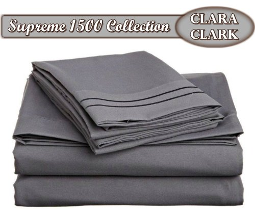 Clara Clark ® Supreme 1500 Collection 4Pc Bed Sheet Set - Cal King Size, Charcoal Stone Gray