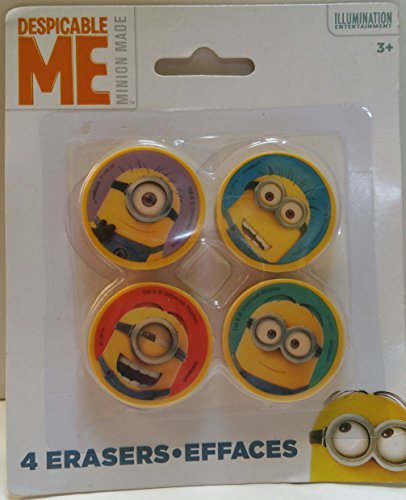 Despicable ME Minion Erasers, 4 erasers per pack