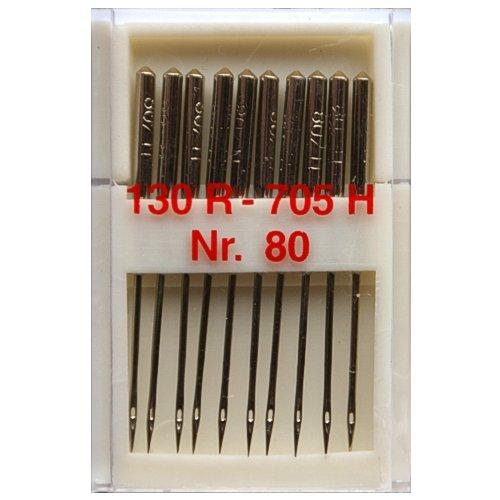 10 Nähmaschinennadeln Universal Nr.80 Flachkolben 130R/705H für Nähmaschine, 0352