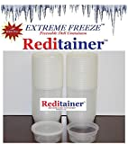 Extreme Freeze Reditainer 8 oz. Freezeable Deli Food Containers w/ Lids - Pack of 40 - Food Storage