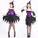 魔女コスプレハロウィン悪魔巫女女王バンパイア吸血鬼コスチューム衣装仮装大人変装パーティーグッズ紫パープルフリーサイズ
