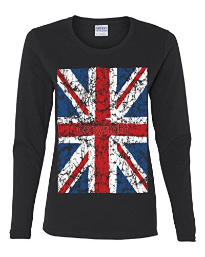 Union Jack Long Sleeve T-Shirt United Kingdom Distressed British Flag Black XL (British Flag Tshirts compare prices)