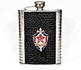 Flask USSR KGB Badge Stainless Steel Souvenir Gift 8oz for Russian Vodka