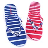 Ladies Nautical Button Flip Flops
