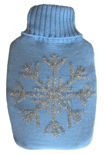 Warm Tradition Silver Snowflake Knit Covered Hot Water Bottle - Bottle Made In Germany