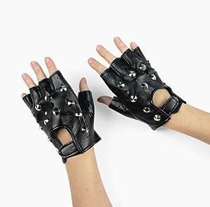 Amazon.com: Polyester Rock Star Studded Fingerless Gloves