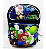 "Backpack - Nintendo - Super Mario Bros - Black & Blue 16"" Large School Bag"