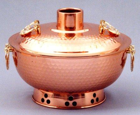 新光堂 純銅製 槌目入れ しゃぶしゃぶ鍋 26cm