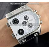 Conbays Russia Military Army Multi-time Zones 3 Times Mens Sports Quartz Leather Watch/white Dial@black Strap