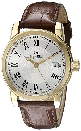 Gevril-Mens-2525-PARK-Gold-Ion-Plated-Stainless-Steel-Watch-with-Leather-Strap