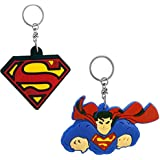 The Marketvilla Single Sided Silicon Keychains COMBO Of Superman & S Logo Rubber Keychain With Metal Ring For Kids, Boys, Men, Women & Girls