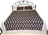 Exotic India Jet-Black Bedspread from Pochampally with Ikat Weave - Pure Cotton with Pillow Covers