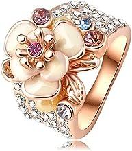 Comprar AnaZoz Joyería de Moda 18K Chapado en Oro/Oro Rosa SWA Elements Cristal Austria Esmalte Flor/Anillo de Boda