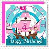 4 Today! Pink Pirate Birthday Card 'Girls can be Pirates too!' inkipinkicard boutique