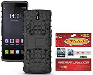 Tidel Hybrid Military Grade Armor Kick Stand Back Cover Case for OnePlus One (Black) With Tidel Screen Guard