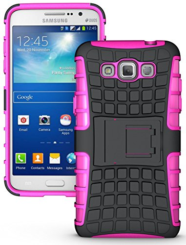 NAKEDCELLPHONE'S PINK GRENADE GRIP RUGGED TPU SKIN HARD CASE COVER STAND FOR SAMSUNG GALAXY GRAND MAX PHONE (SM-G7200