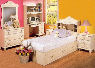 2 Piece Girls Chest Bed and Bookcase Headboard