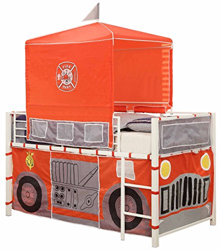 Homelegance B2028-1 Fire Truck with Tent Metal Loft Bed, Twin, White/Red (Fire Truck Bed Tent compare prices)