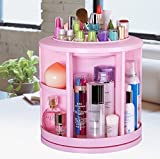 """HOKIPO"" Brand 360-Degrees Rotating Circular Plastic Cosmetic Jewelry Makeup Display Storage Box Organizer (Random Color)"