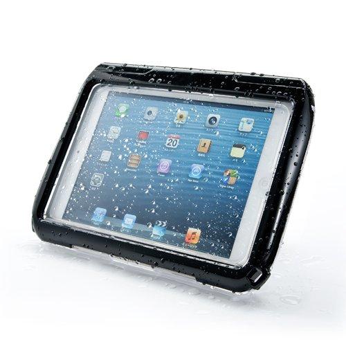 サンワダイレクト iPad mini防水ハードケース iPad mini Retina 対応 スタンド機能 ストラップ付 ブラック 200-PDA109BK