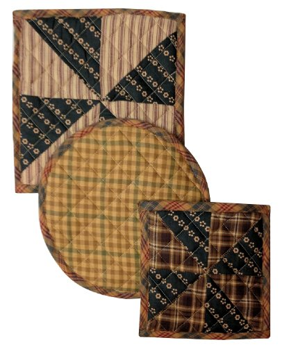 Nancy'S Nook Weathervane Plaid Pot Holder Cotton Quilted Lined Hot Pad Trivet - 3 Piece Set back-570426