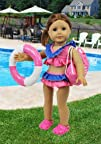 "Doll Clothes for American Girl Dolls: 6 Piece ""Summer Fun"" Beach and Pool Outfit – by…"