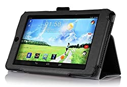 IVSO Slim-Book Stand Cover Case for Acer Iconia B1-730 HD Tablet with Card Holder / Hand Strap (Black)