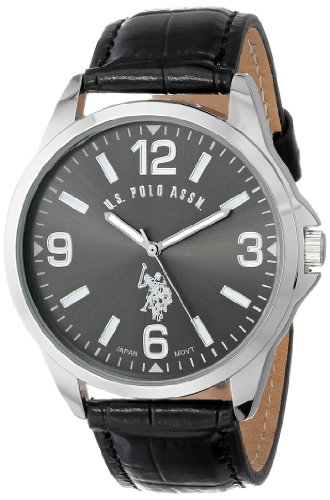 U.S. Polo Assn. Classic Men'S Usc50007 Oversized Dial Watch With Leather Band