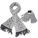 Fair Isle Knitted Women's Merino Wool Scarf & Gloves Set - Lovarzi - Gorgeous fairisle winter warm scarf and glove set for women - Made in Scotland - Ladies Scarves