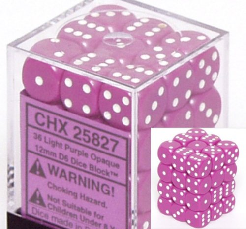 Chessex Dice d6 Sets: Opaque Light Purple with White - 12mm Six Sided Die (36) Block of Dice - 1
