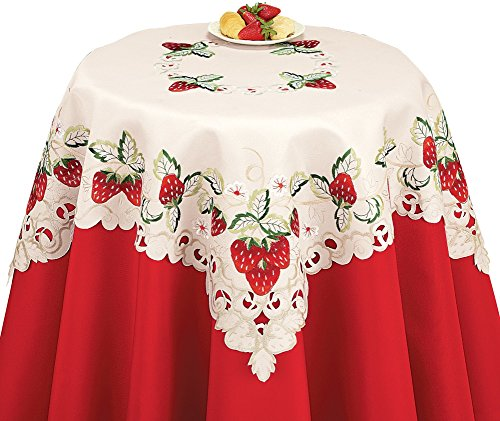 Embroidered Strawberry Lace Table Linens, Square (Strawberry Kitchen compare prices)