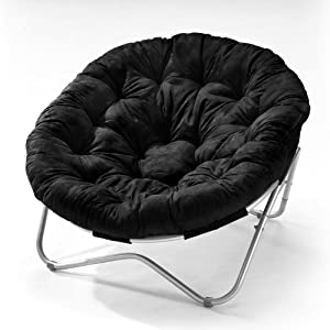 Oval Roundabout Papasan Chair in Black