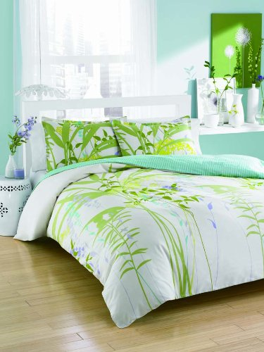 City Scene Mixed Floral Cotton Duvet Cover Set, Twin front-8934