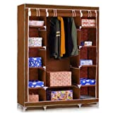 #8: Fancy and Portable Foldable Closet Wardrobe Cabinet Portable Multipurpose Clothes Closet Portable Wardrobe Storage Organizer with Shelves 3.5 Feet Folding Wardrobe Cupboard Almirah Foldable Storage Rack Collapsible Cabinet (Need to Be Assembled) By Krishyam