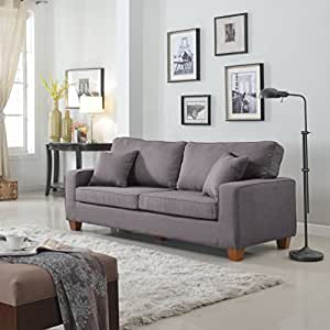 Amazon.com: Classic Traditional 82-inch Linen Fabric Sofa with