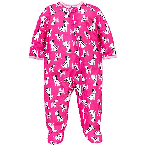 Little Me Baby Girls Dalmatian Soft Zip Footie Pajamas Footed Sleeper Pink 24M